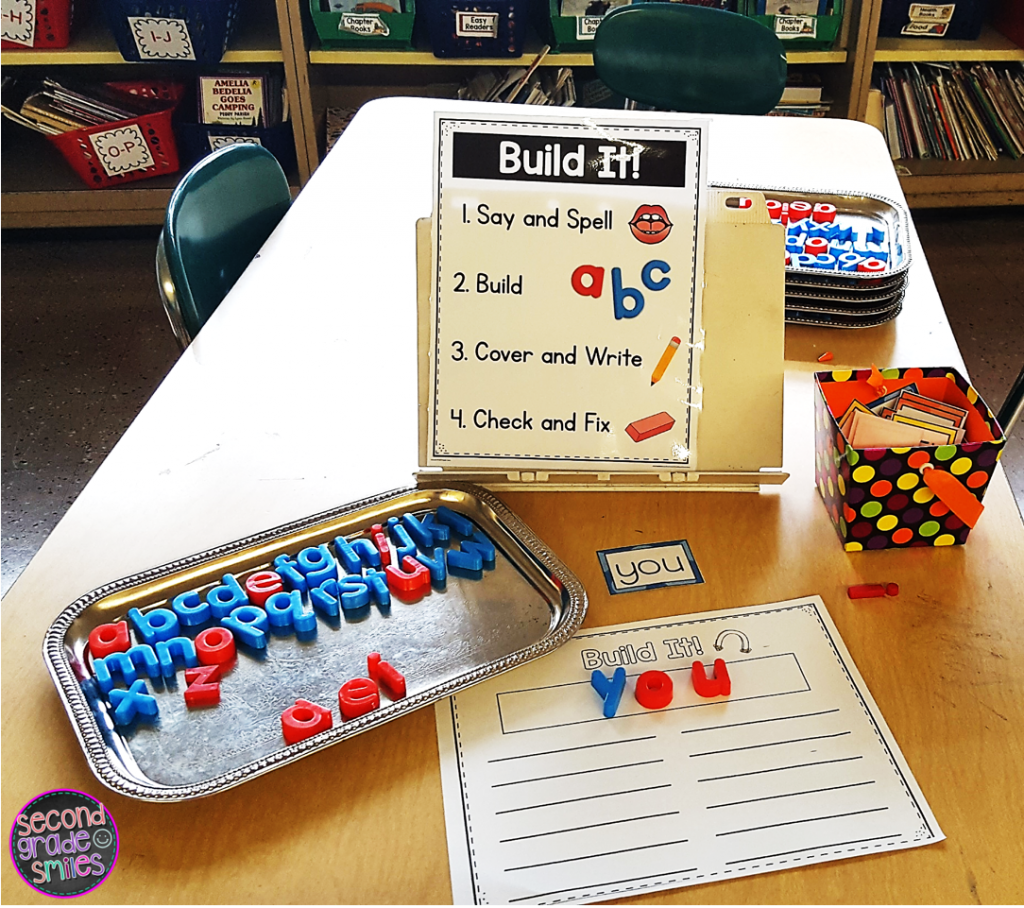 magnet building multisensory word work center with visual direction display and magnetic tray holding letters
