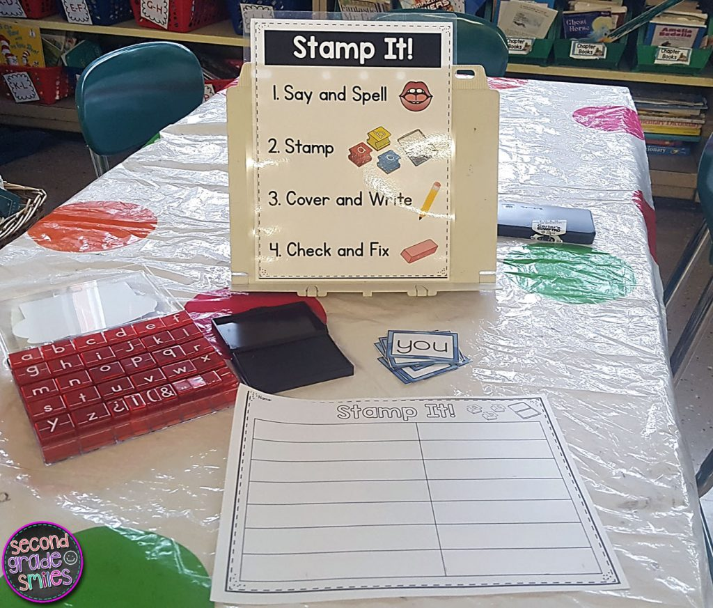 multisensory word work stamping center set up in second grade classroom
