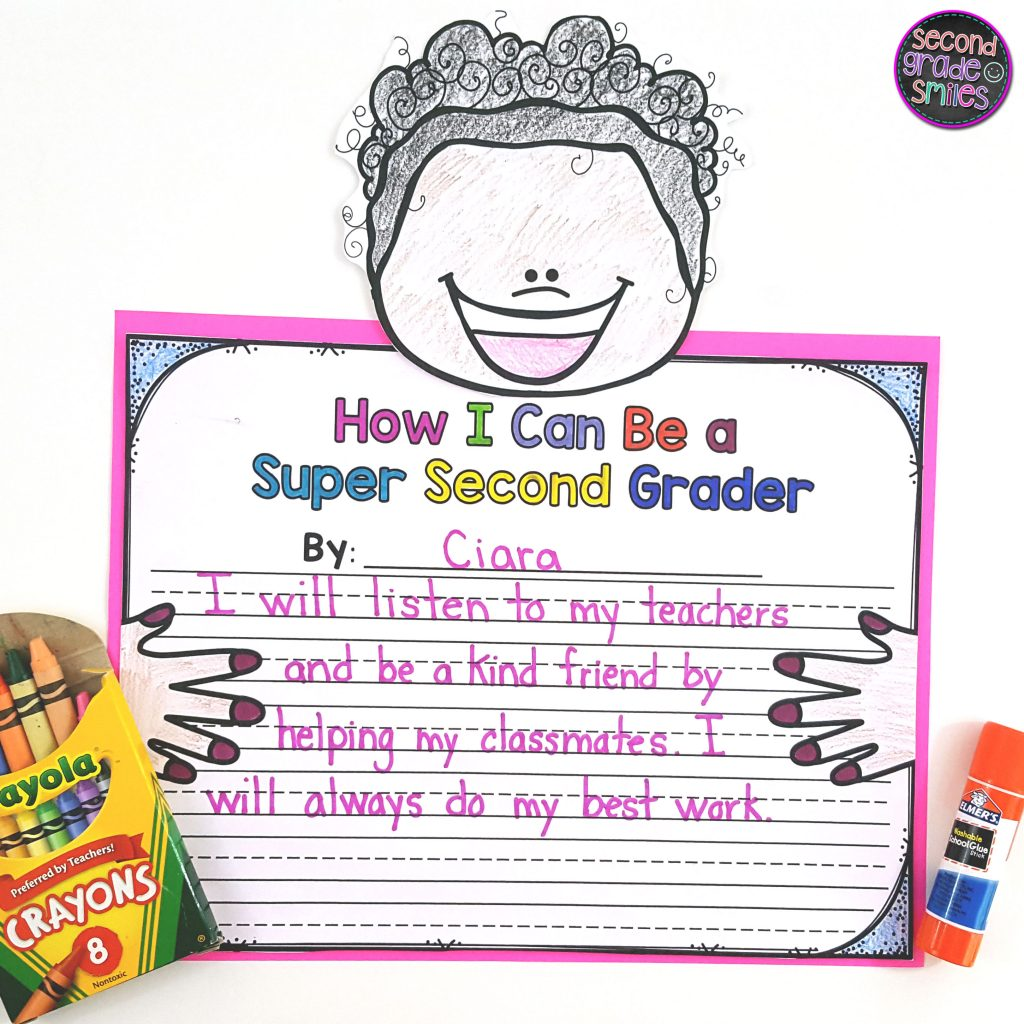 super student writing craft sample for second grade