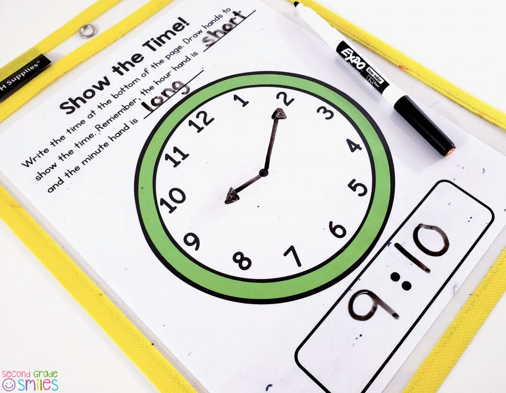 dry erase clock for telling time practice
