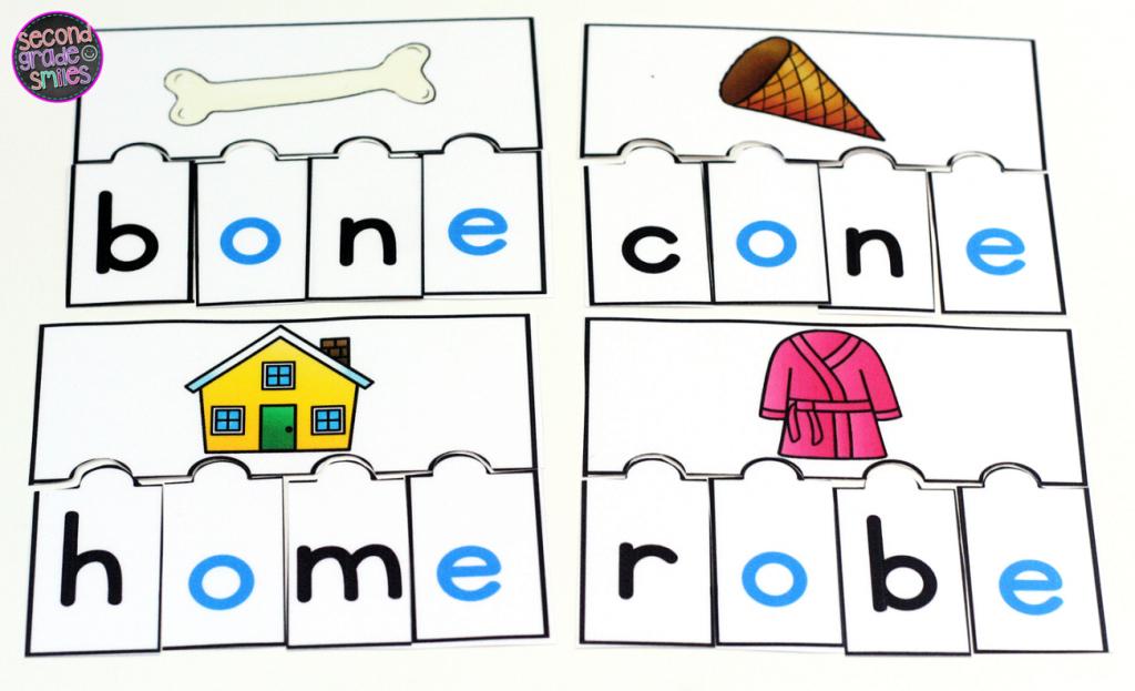 long o puzzles literacy center activity