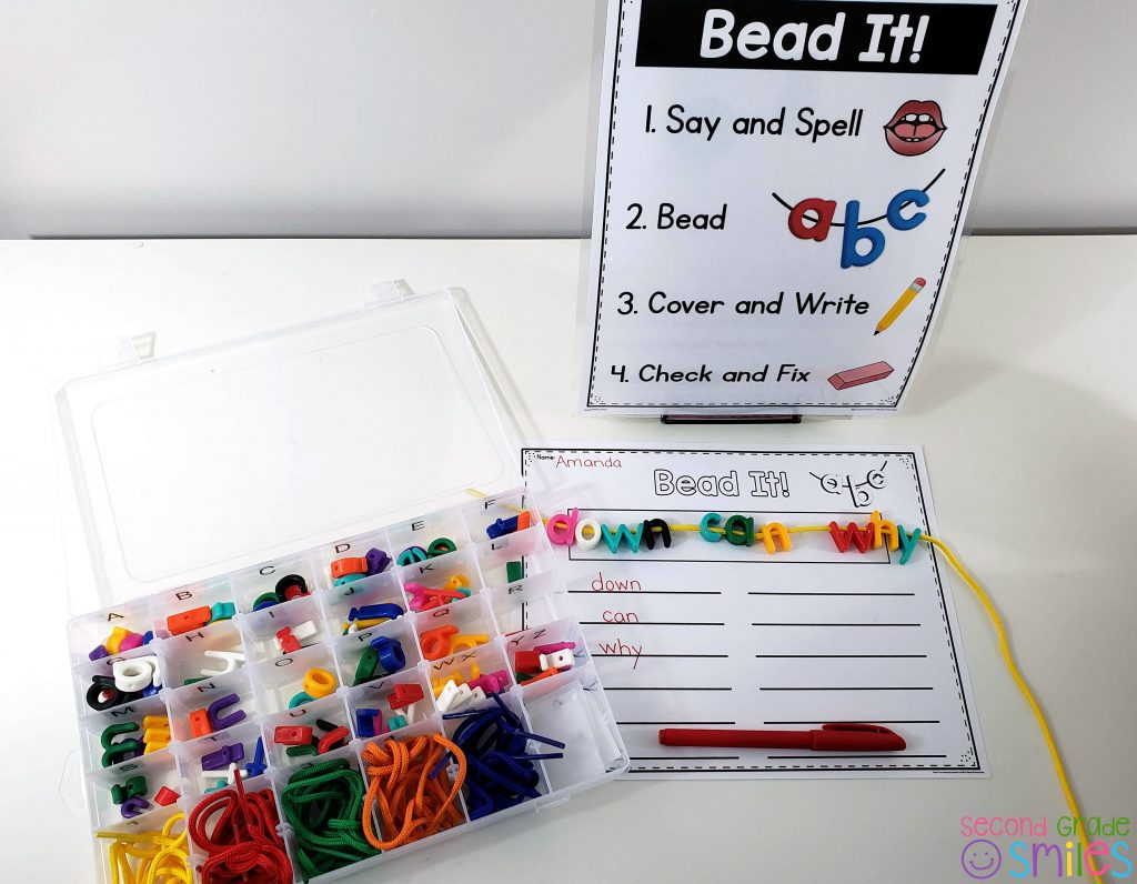 letter beads multisensory word work center with visual direction display and storage container