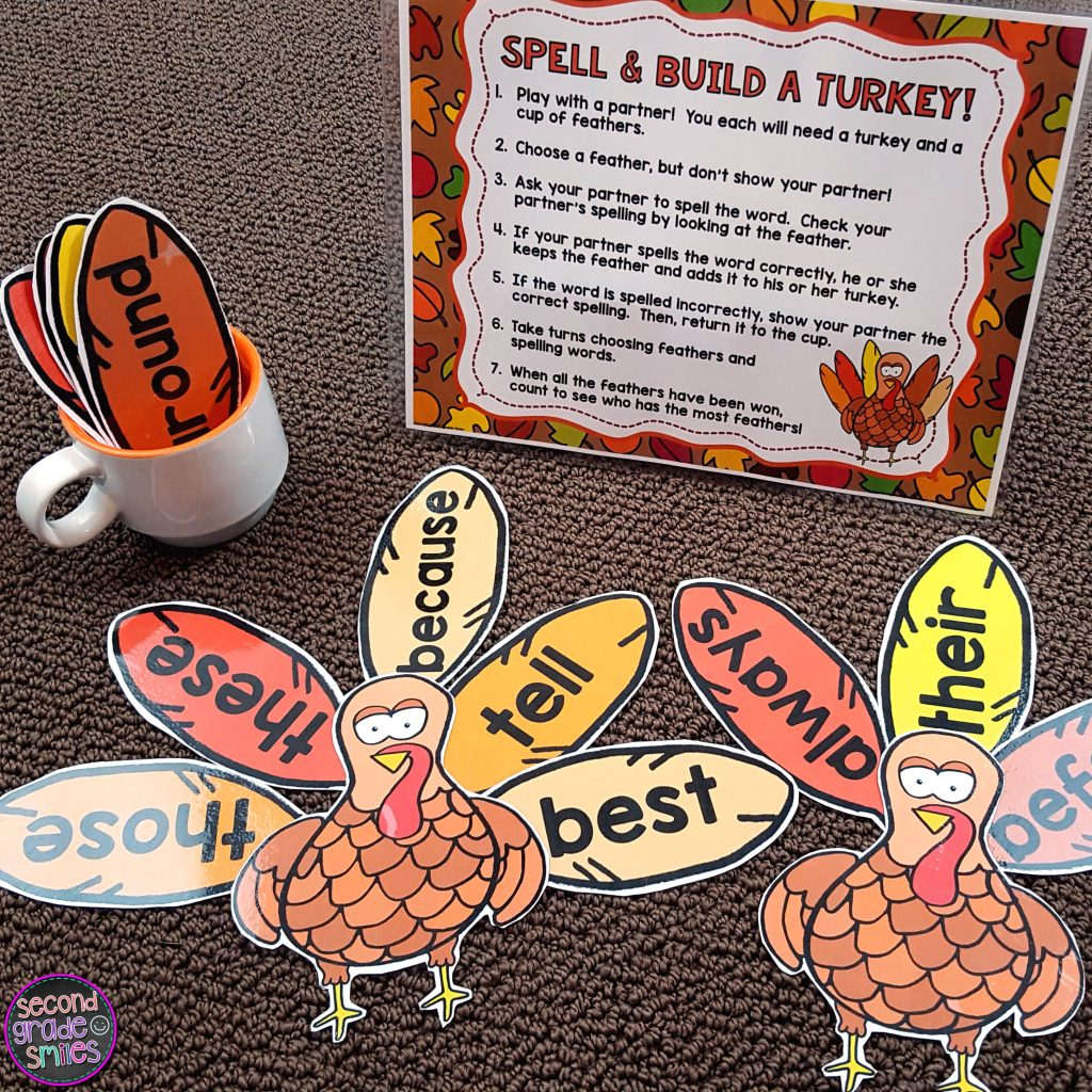 turkey themed sight word game for celebrating Thanksgiving in the classroom in November