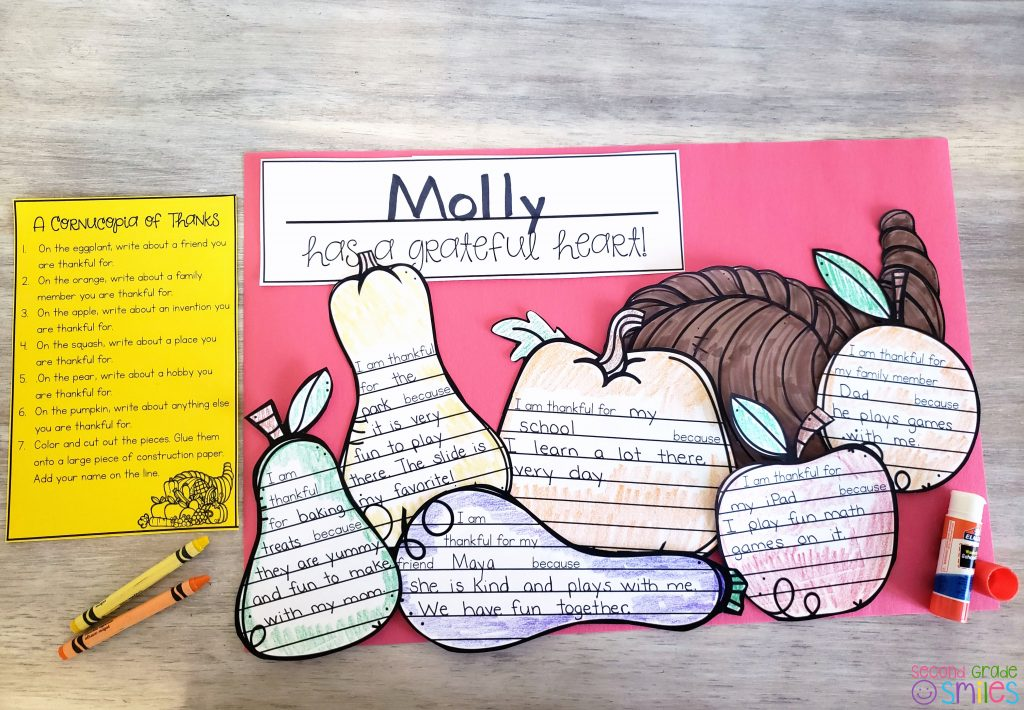 cornucopia craftivity writing example craft for celebrating Thanksgiving in the classroom