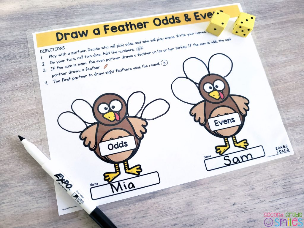 Draw a Feather Odd & Even math game for Thanksgiving in the classroom