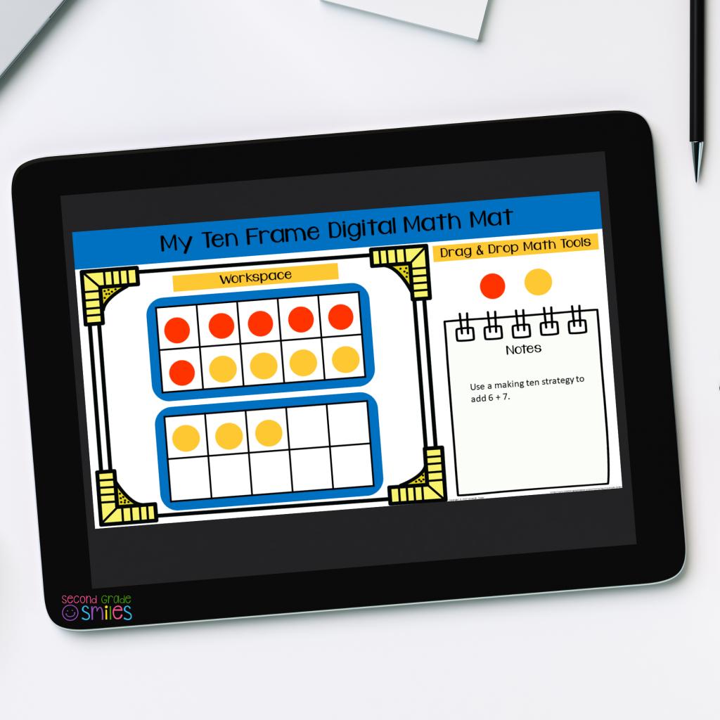 ten frame digital math manipulatives shown on tablet