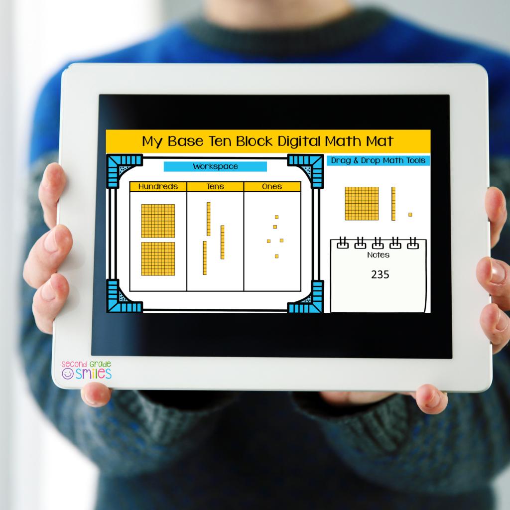 base ten blocks digital math manipulatives shown on a tablet