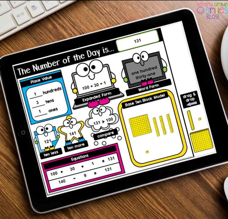 Digital number of the day template for first grade or second grade distance learning