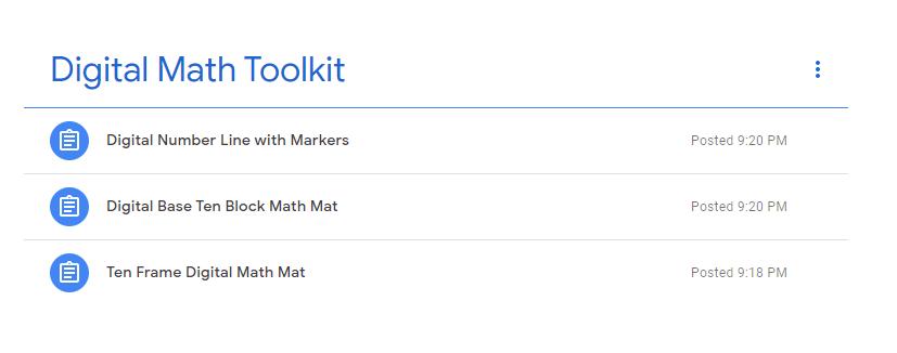 Google Classroom digital math toolkit sample image