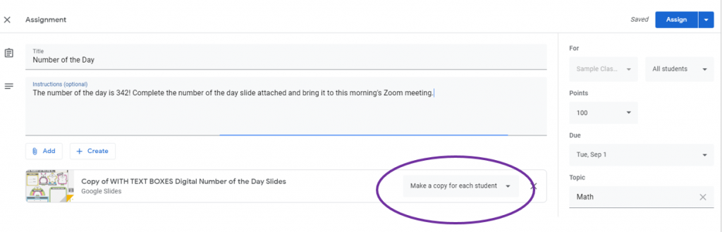 Assigning an assignment in Google Classroom making a copy for each student
