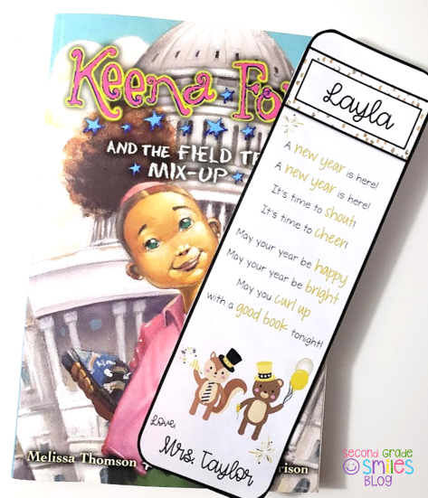 book with personalized bookmark