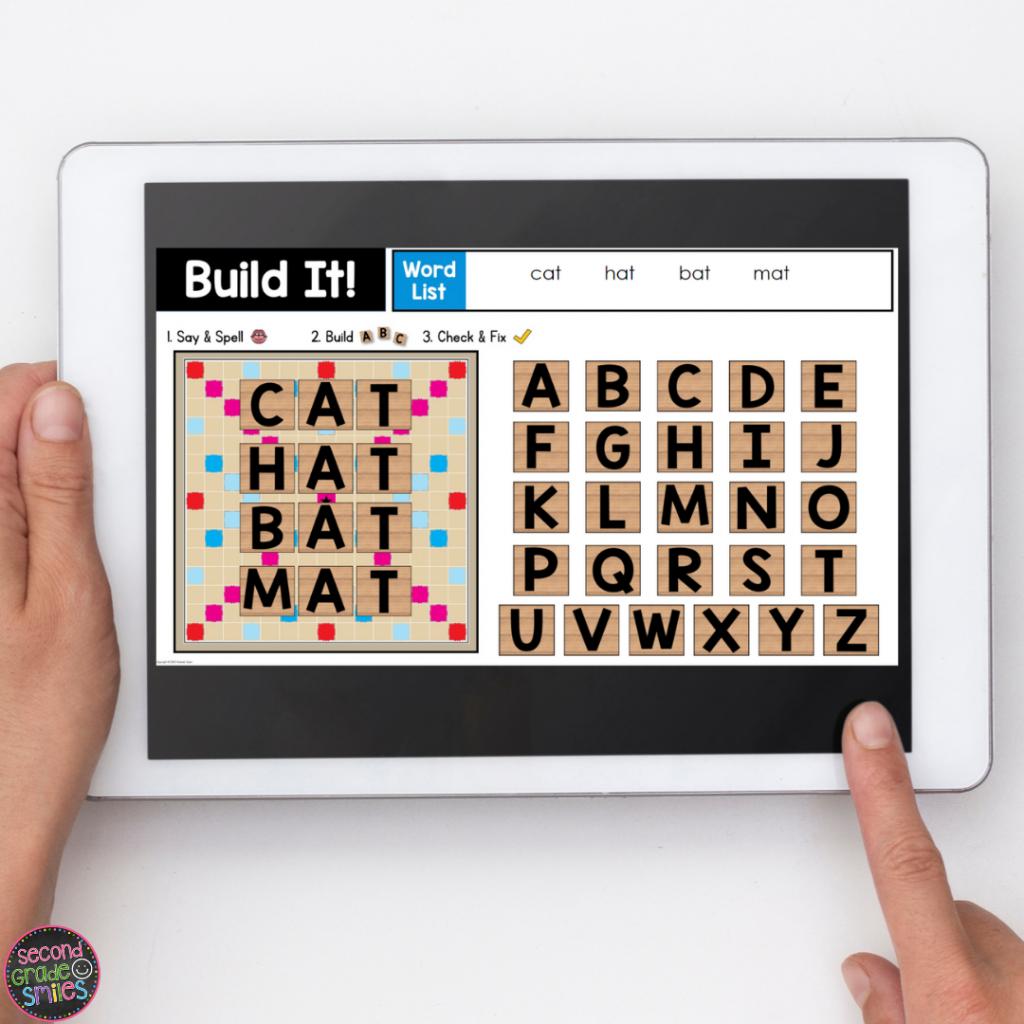 digital wooden letter tile activity with -at words (cat, hat, bat. mat)