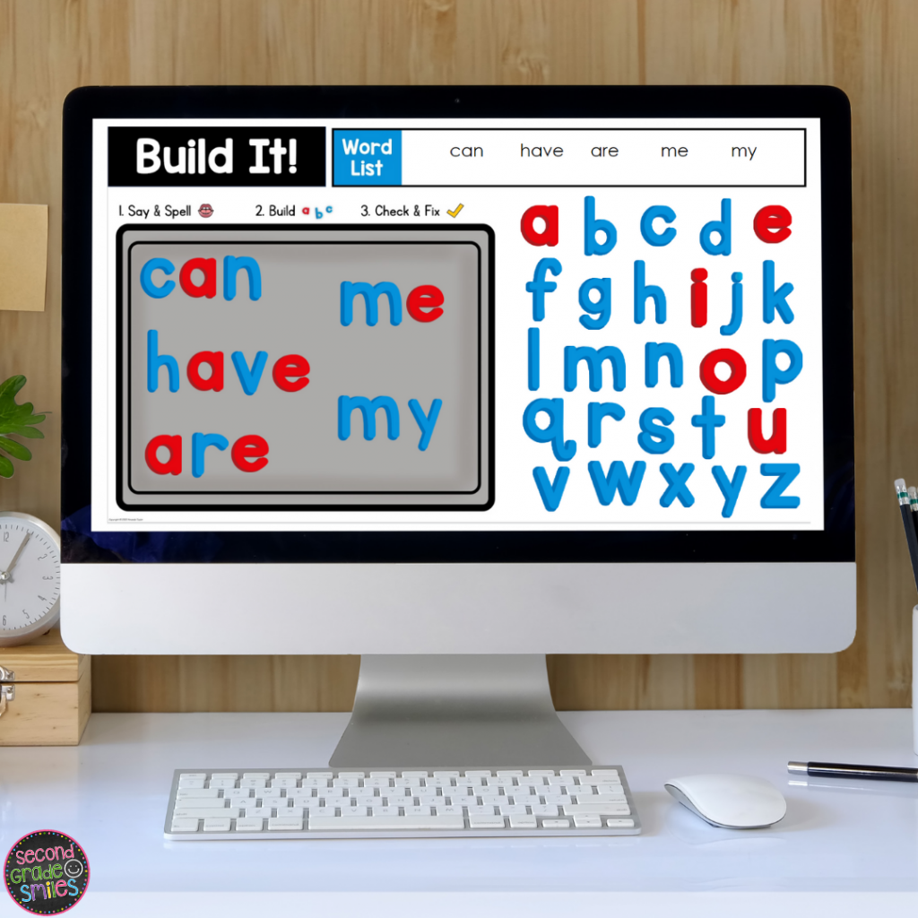 digital magnet letters word building activity with high frequency words