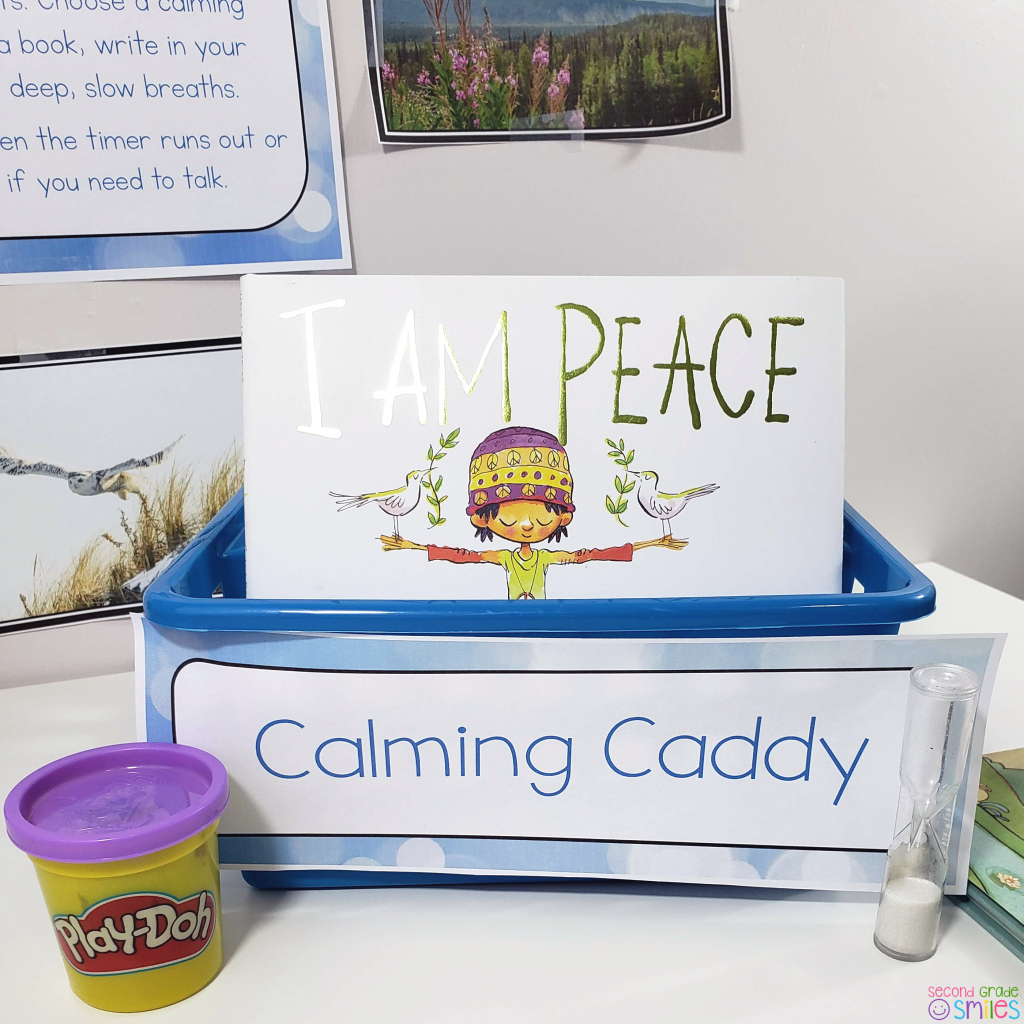 classroom calming caddy with book, playdough, and sand timer