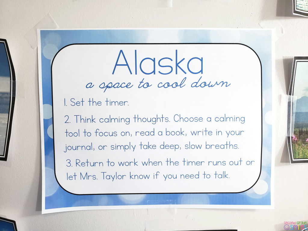 classroom calm space poster